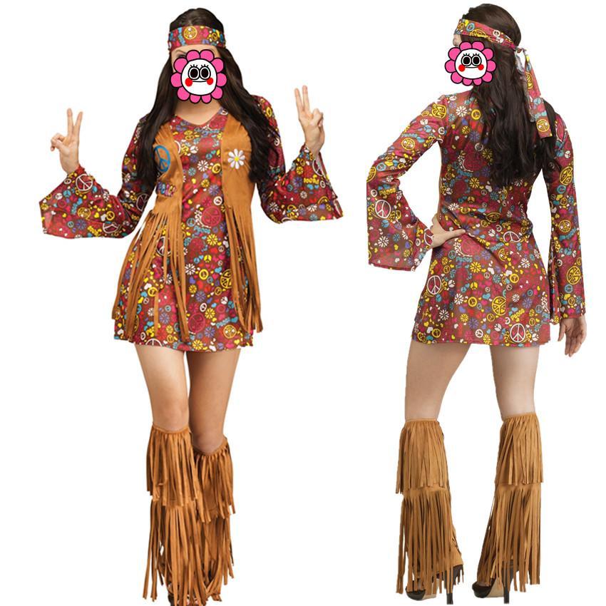 60efd1a7f4b Compre Abbille Mujeres Traje Hippie Marrón Disfraces Americanos Nativos De  Los 70s Partido Retro Ropa De Escala Disfraces Disfraces De Halloween Para  Mujer ...