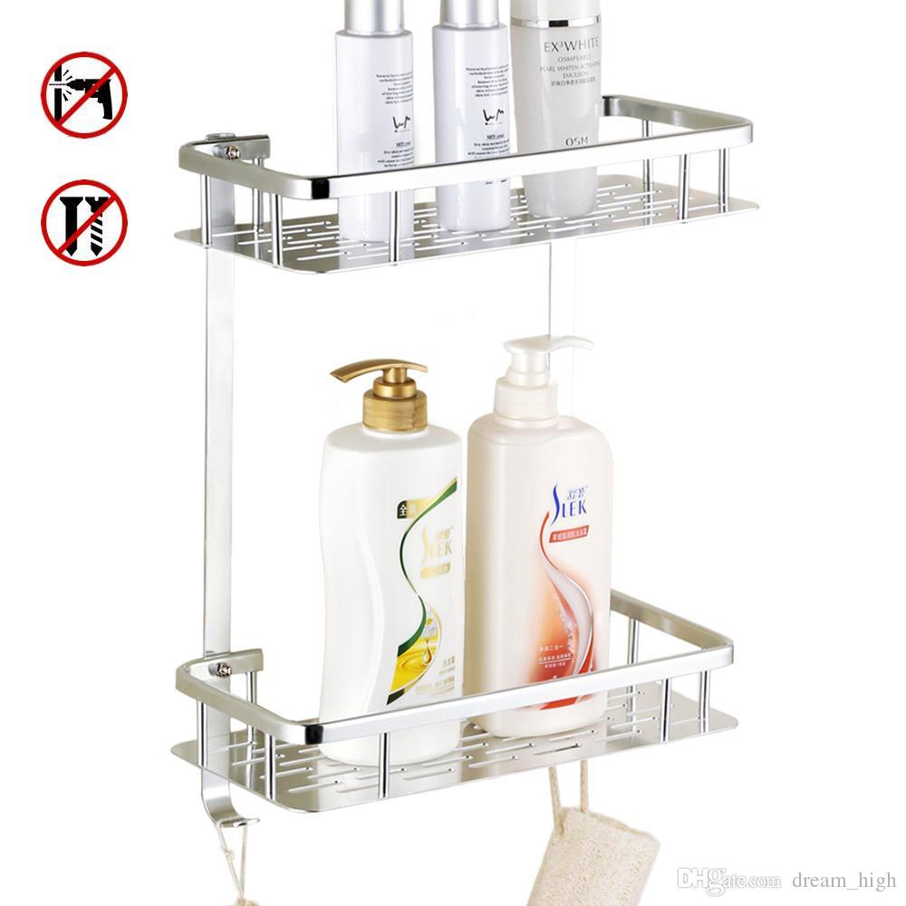 Bathroom Shelf No Drilling Shower Storage Rack Towel Shampoo Basket ...