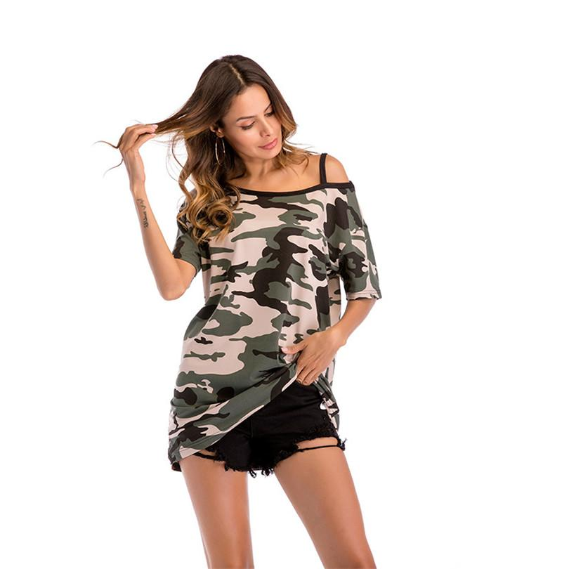 0b6eadcd0 Women's t-shirt Camouflage off-the-shoulder long section Short-sleeved t- shirt female loose large size women's shirt T-Shirts