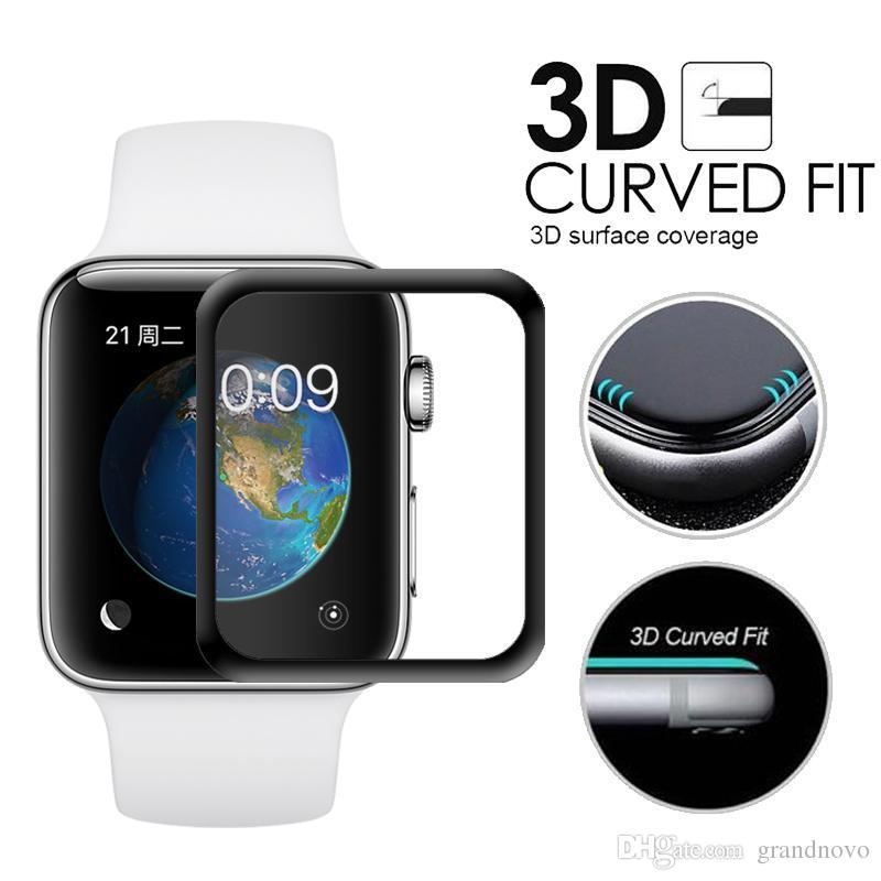 3D Curvo Vidro Temperado Premium Explosão Cobertura Completa Guarda Filme Protetor de Tela para Apple Watch Series 4 3 2 40mm 44mm 38mm 42mm