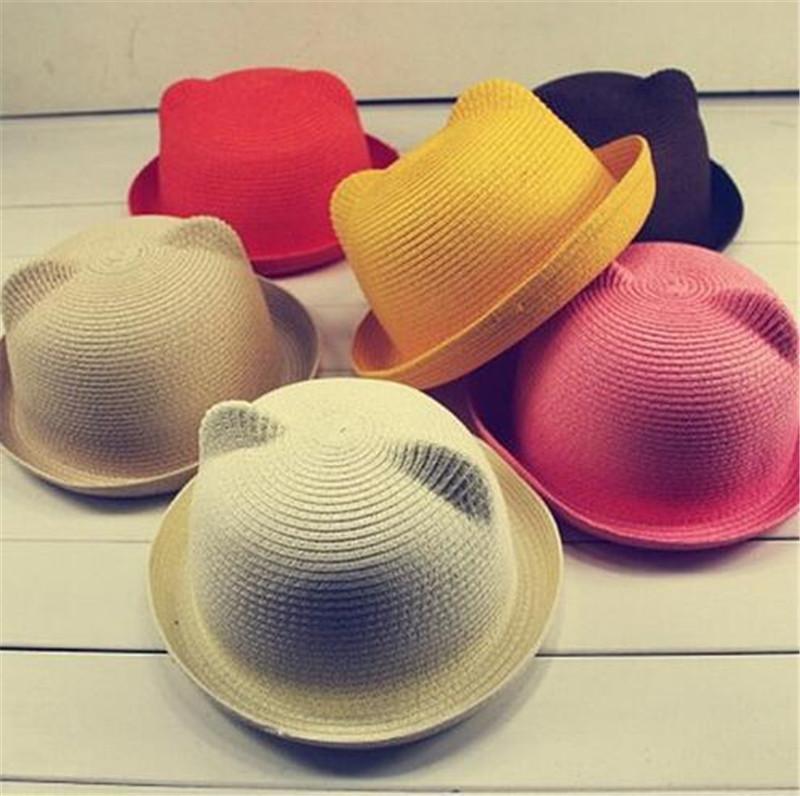 Hasır Şapkalar Çocuklar Karakter Kulak Dekorasyon Yaz Kap Bebek Güneş Şapka Kız Erkek Çocuklar Için Çocuklar Için Kova Kap Şapka Plaj Panama ...