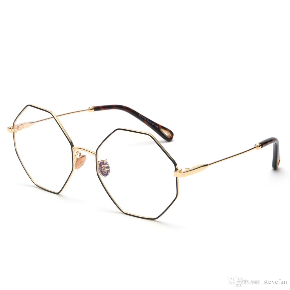 Compre Anteojos Ópticos Montura Mujeres Vintage 2018 Metal Dorado Gafas De  Polígono Octágono De Gran Tamaño Para La Protección Informática De Los  Hombres A ... 0dce6df17a