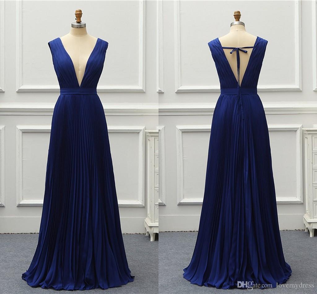 72810eda6e5 Sexy Royal Blue Bridesmaid Dresses Deep V Neck Open Back Chiffon Ruched  Floor Length Cheap Long Prom Evening Formal Dress Gowns 2019 Chiffon  Bridesmaid ...