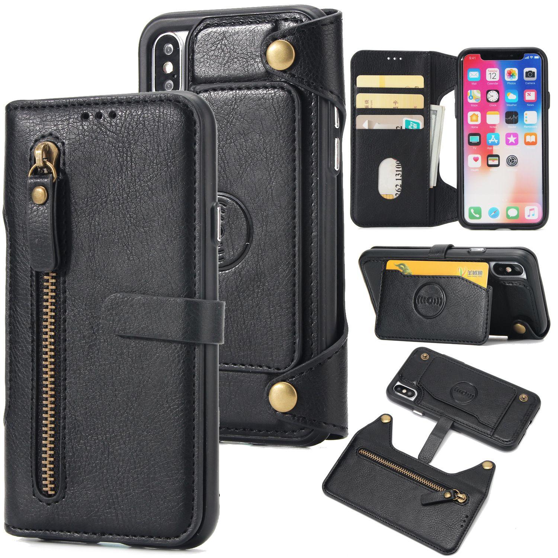 Magnetic Car Mount Stand Holder Bracket Holster Detachable 2 in 1 Flip Leather Wallet Case Zipper Cover Belt Clip Shell for iPhone Samsung