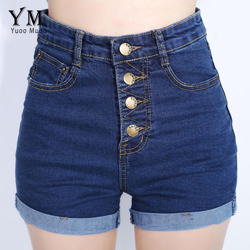 2ed4434eb9c3 YuooMuoo 2018 Moda 4 Botões Retro Elástico de Cintura Alta Shorts Feminino  Denim Shorts para As Mulheres Soltos Plus Size Calça Jeans Azul Curto S916