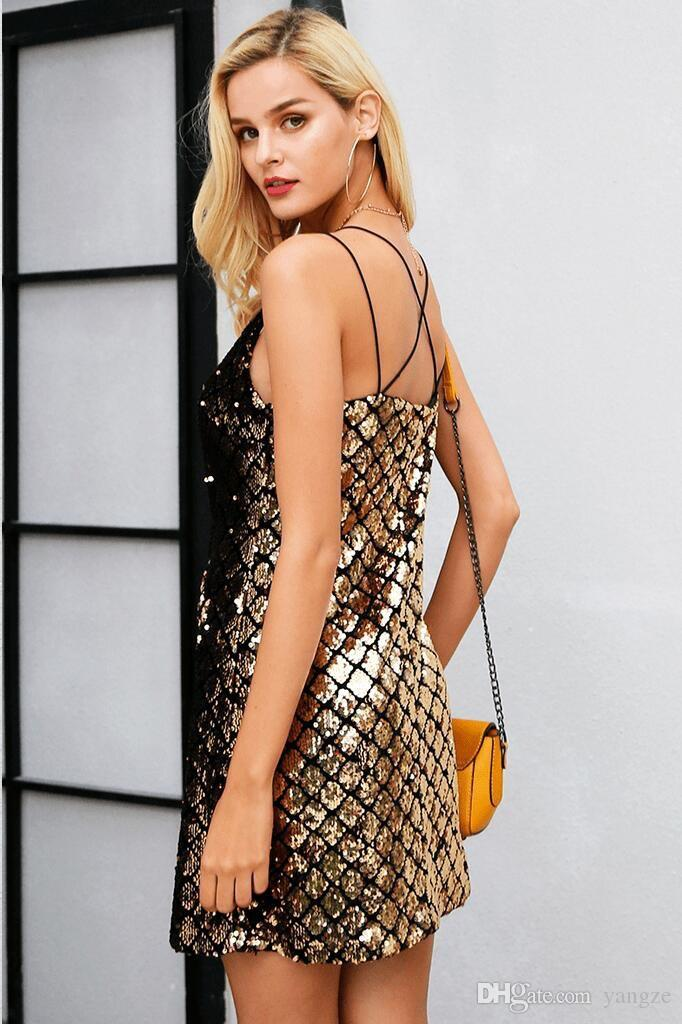 2018 Hot Fashion Women Sexy Sequins Bandage Bodycon Sleeveless Evening Party Cocktail Club Mini Dress RF0906