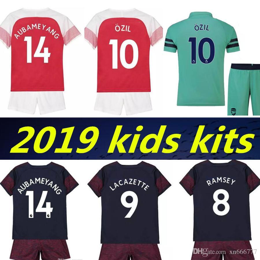 2073d5462 18 19 Arsenal Kids Kits Soccer Jersey AUBAMEYANG OZIL LACAZETTE ...