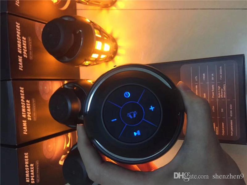 I3 LED Torch Flickering Flame Light Lamp Bluetooth Speaker Atmosphere Stereo Night Lamp Christmas Gift black MIS135