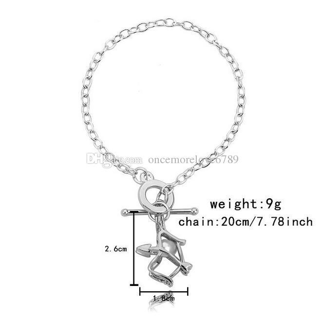 Elegant Women Pearl Oyster Charm Bracelets Fashion Silver Pistol Owl skull Pearl Cage Pendant Locket Bracelet Jewelry