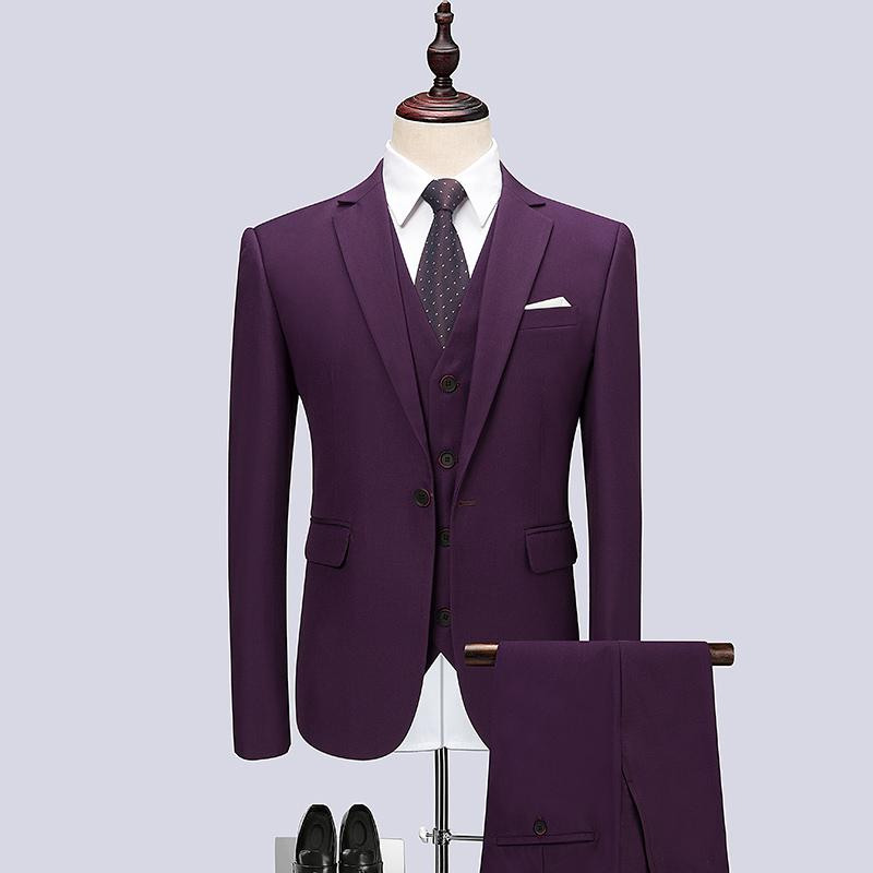f5c1ed35b3f2f 2019 Jacket+Pant+Vest Purple Suit Men Brand 2018 Hot Sale One Button Slim  Fit Wedding Mens Suits Business Formal Wear Men Clothing From Vanilla06
