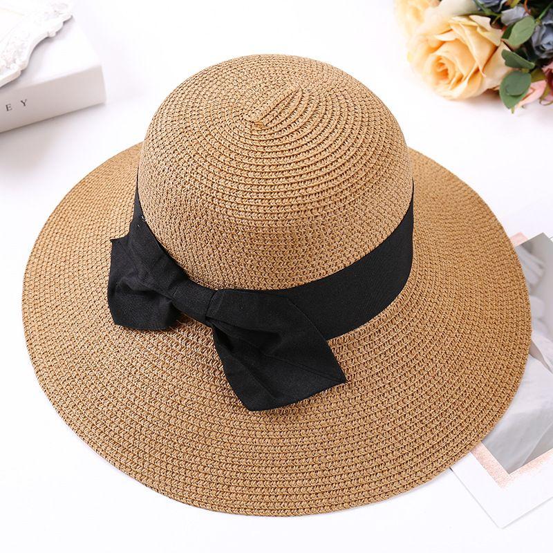 b0e10b9e Lady Boater Sun Caps Ribbon Round Flat Top Bucket Straw Beach Hat Panama Hat  Summer Hats For Women Straw Snapback Gorras Funny Hats Hat World From  Playnice, ...