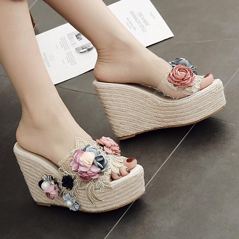 Frauen Schuhe Schuhe 2019 Neue Frauen Mode Plattform Mit Hausschuhe Strand Sandalen Blume Hausschuhe Frauen Hausschuhe Indoor Flip-flops Reisen
