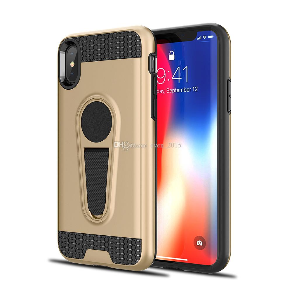 Двойной слой автомобиля магнитный телефон случаях для Iphone X 6 7 8Plus держатель гибридный жесткий чехол для Samsung S9 S8 J7Prime S7 случае