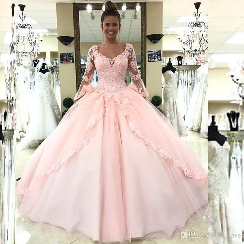 Hellrosa Quinceanera Kleid Ballkleid Langarm Handgefertigte Applikationen Spitze Lange Mädchen Prom Kleid Party Kleid Abschluss Kleider