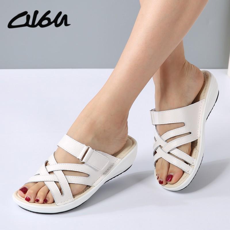 ec4bc7a27ae8 O16U Women Sandals Shoes Leather Flat Sandals Low Heel Wedges Summer Women  Open Toe Platform Sandalias Ladies Gladiator Sandals Ladies Gladiator  Sandals ...