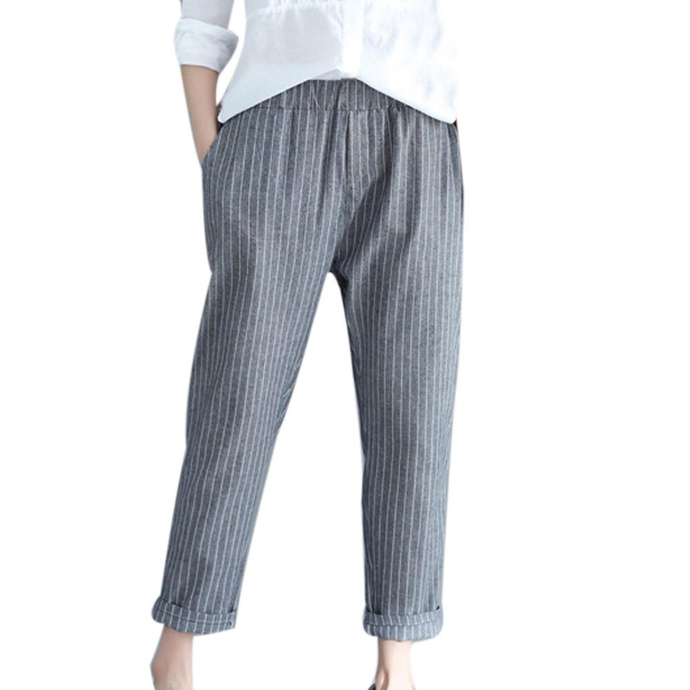 482d47603045 2019 Plus Size Harajuku Pants Vintage Striped Big Size Linen Trousers Women  Clothes Streetwear Korean Style Pockets Womens Clothing From Yesterlike