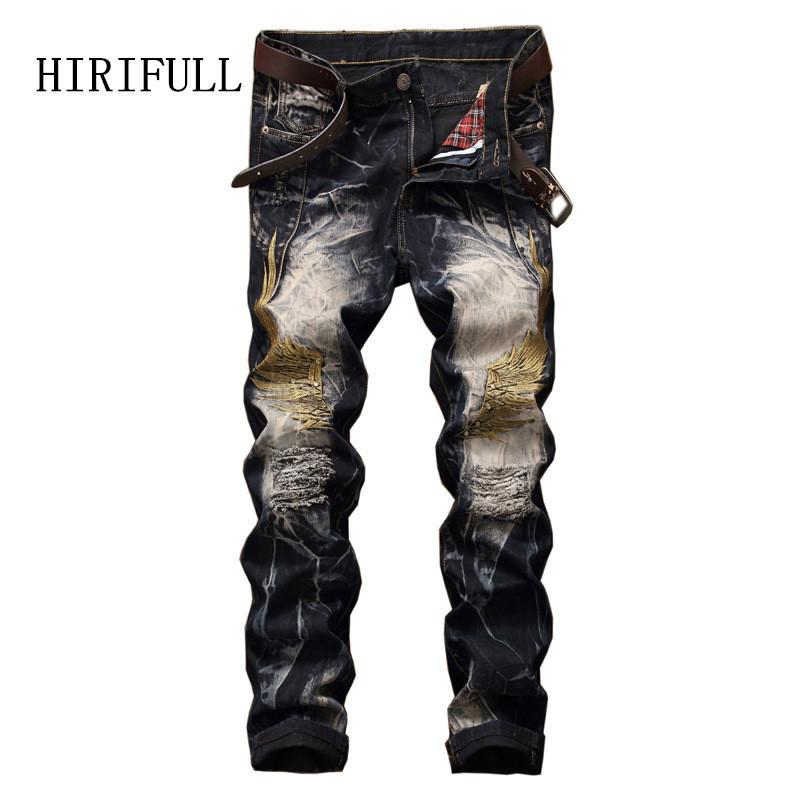 2017 Biker Pantalon Vintage Déchiré Broderie Mens Hommes Ailes Jeans De Mode Slim Fit Hip Denim Casual Droite Hop Trou WEIY9D2H