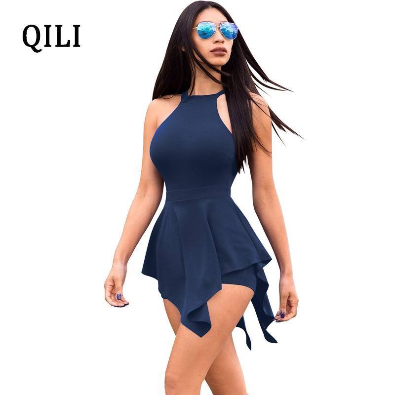5d5cd10f4d2 Qili beach rompers white black blue fake two piece romper jpg 800x800 White asymmetrical  romper