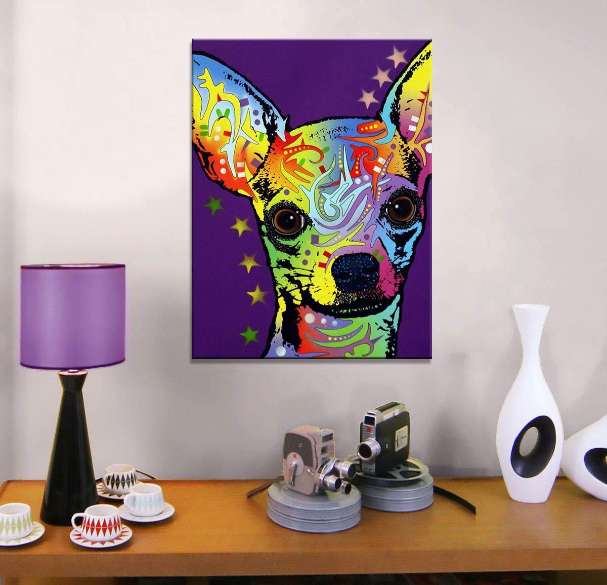 Großhandel Drucken Ölgemälde Wandmalerei Chihuahua Hause Dekorative ...