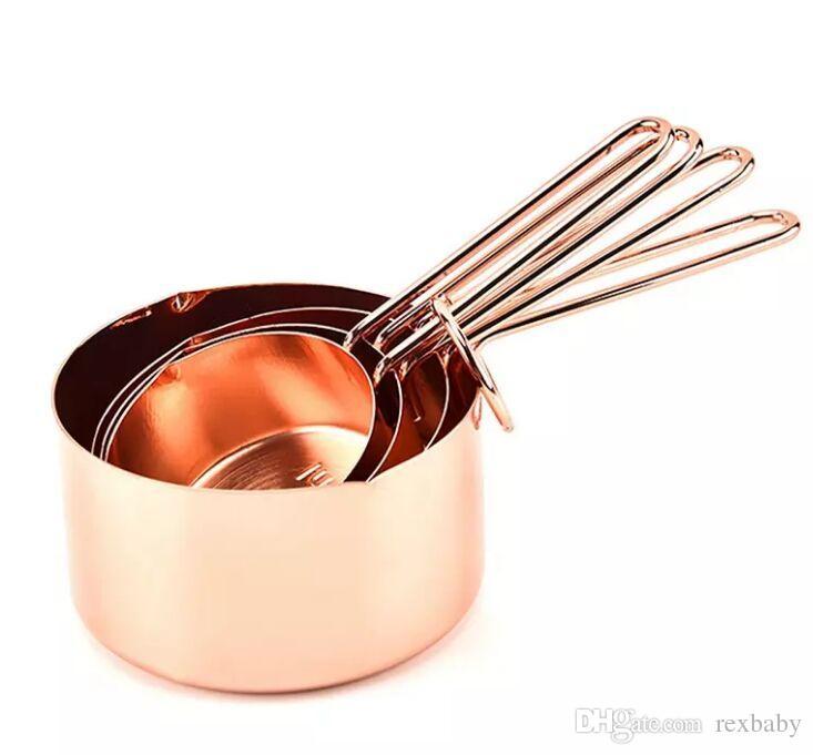 ارتفع الذهب قياس كأس 4 قطعة / المجموعة المقاوم للصدأ أدوات القياس مجموعة للقهوة السكر الخبز أداة اكسسوارات المطبخ