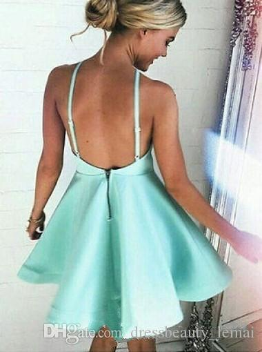 New Mint Green Junior Mini Short Homecoming Dresses Sexy Backless Halter Cocktail Dresses Junior Graduation Prom Party Gowns