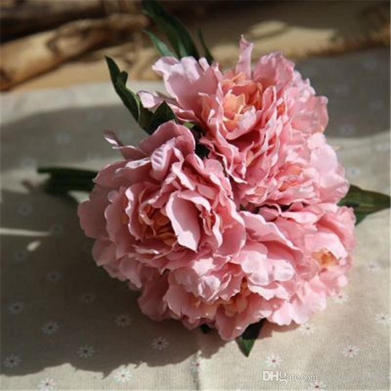 Wholesale purple orange artificial wedding flowers Peony Home Decorations Festive Party Supplies PU Slik Decorative Flowers Weaths