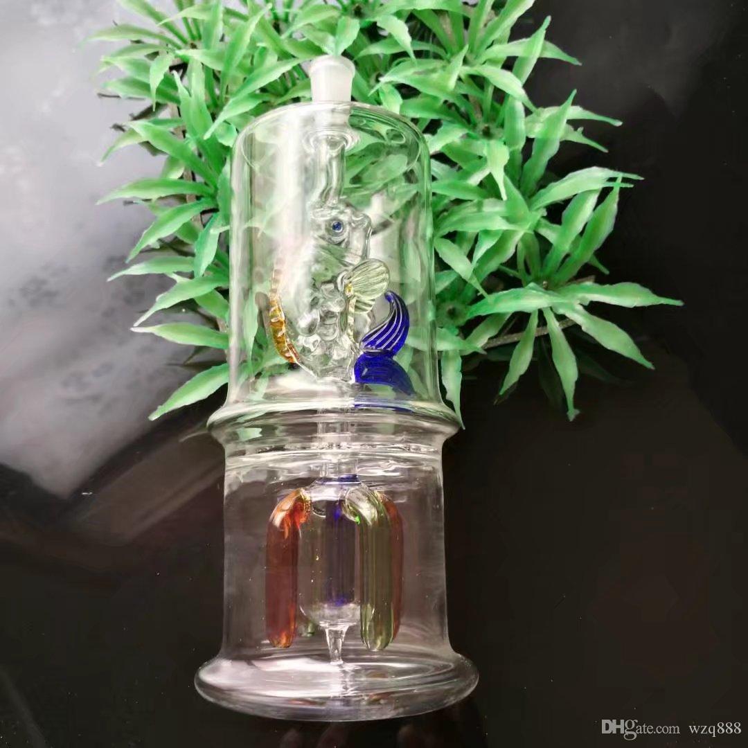 Los pescados bajo el garfio mudo de cristal de la placa de cuatro garras, Bongs de cristal al por mayor Tubos de agua del aceite Tubos de cristal petroleros Rigs que fuman, envío libre