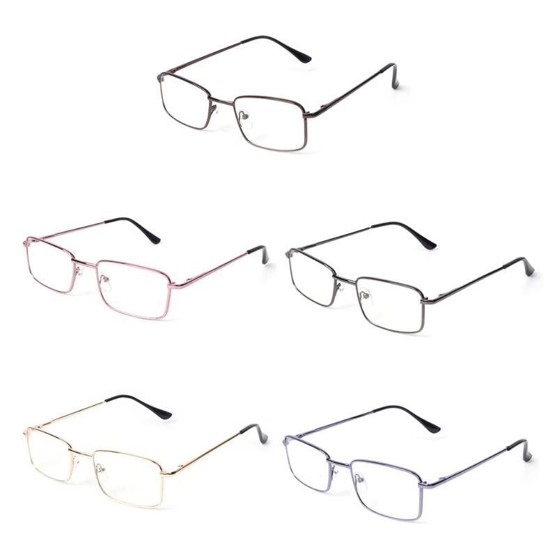 da5590fbb689 Rectangle Clear Lens Glasses Metal Frame Vintage Gentle Women Men ...