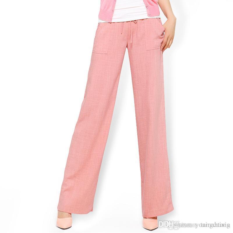 640d59400603e 2019 Wide Leg Pants Women White Cotton Linen Pants Plus Size Long Casual  Drawstring Harem Trousers Loose Summer Pantalon Femme From Tangcaixia