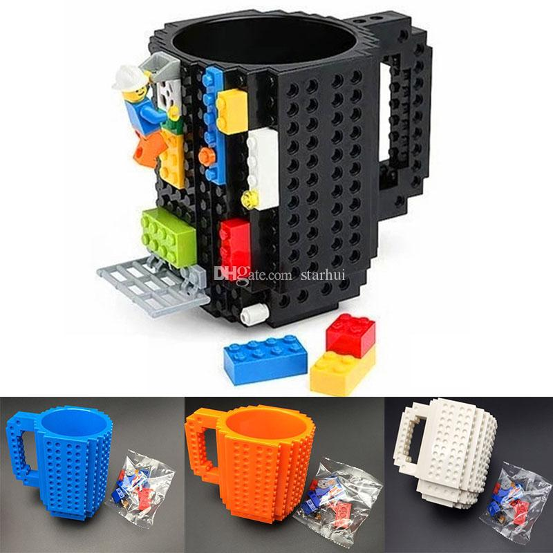 350ml Creative Milk Mug Coffee Cup Building Blocks Mugs Men Women Children Personalized Decompression Water Cup 10 color WX-C13