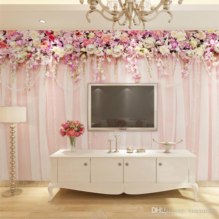 Hot sale bridal bedroom wall wallpaper large and seamless mural is contracted the wall of modern setting wall decorates nonwoven cloth sweet