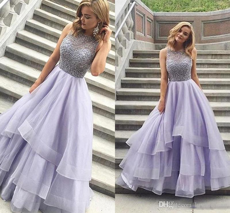 Sparkly Beading Tiered Ball Gown Prom Dresses 2018 Charming Scoop Sleeveless Organza Backless Lavender Long Evening Dresses Formal Gowns