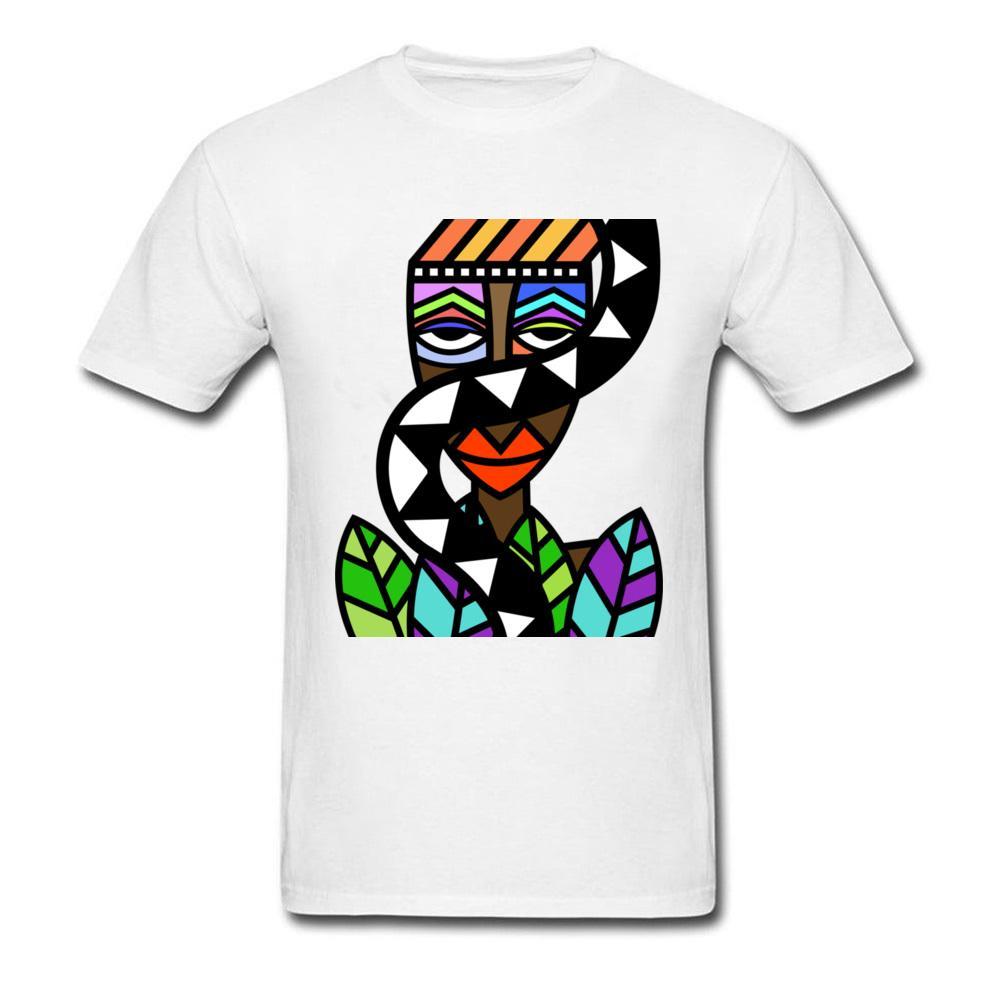 Art Design Men T Shirt African Beauty Abstract Painting Short Sleeve