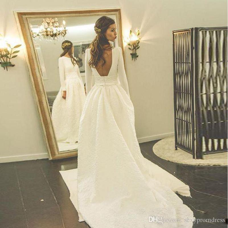 compre elegante blanco una línea de vestidos de novia espalda