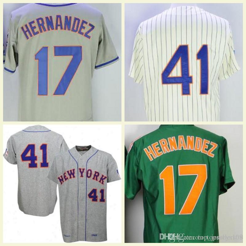 promo code 0b187 375be Mest Jersey 41 Tom Seaver 17 Keith Hernandez Jersey White Grey Blue Flex  Base Stitched Vintage Baseball