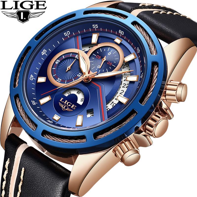 a2b5de772ae Compre Novo LIGE Homens Relógios Top Marca De Luxo De Couro Da Moda À Prova  D  Água Relógio Dos Homens Casuais Esportes De Quartzo Relógio Relogio  Masculino ...