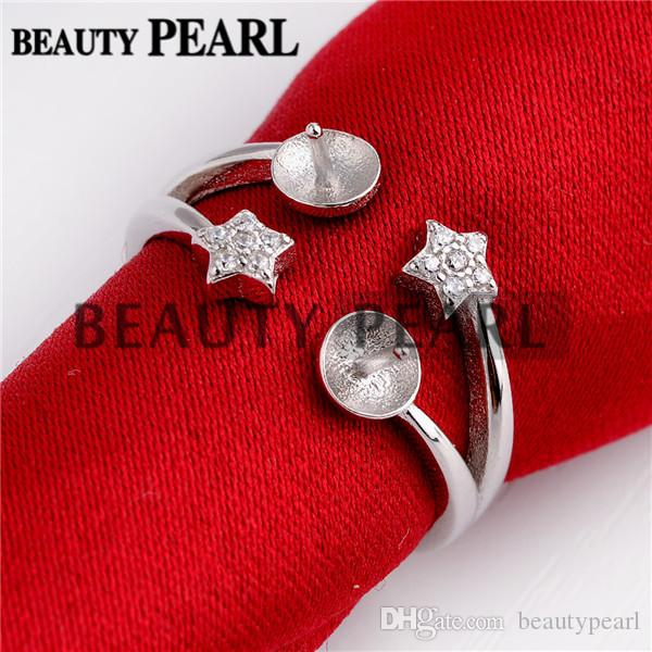 Two Little Star Ring Base with 2 Blanks 925 Sterling Silver Pearl Jewelry Settings