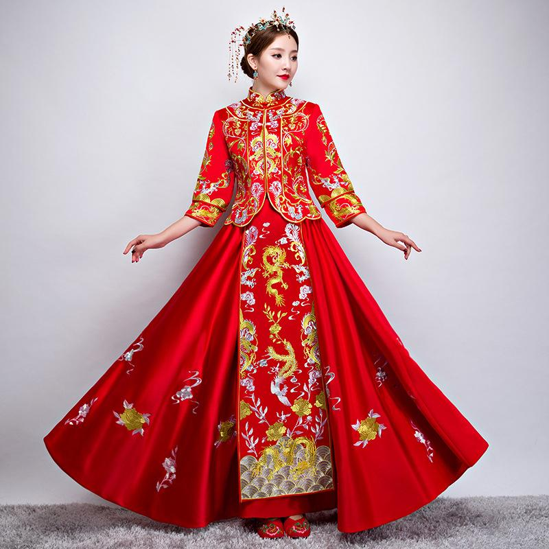 Chinese Wedding Dress.New Red Traditional Chinese Wedding Dress Qipao National Costume Womens Overseas Chinese Style Bride Embroidery Cheongsam S Xl