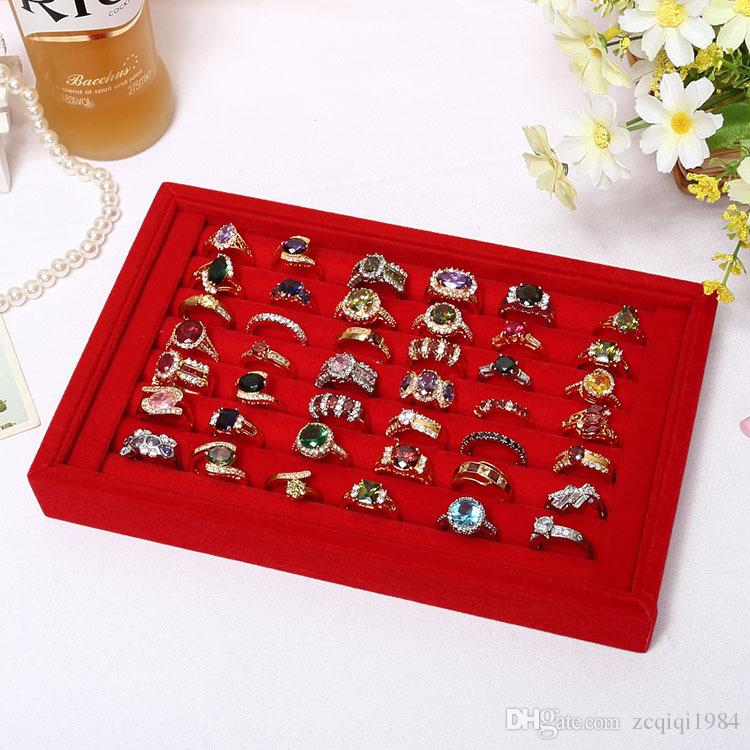 Wholesale Jewelry Stand Display High Grade Full Velvet Rings Earrings Show Case Storage Boxes Different Colors