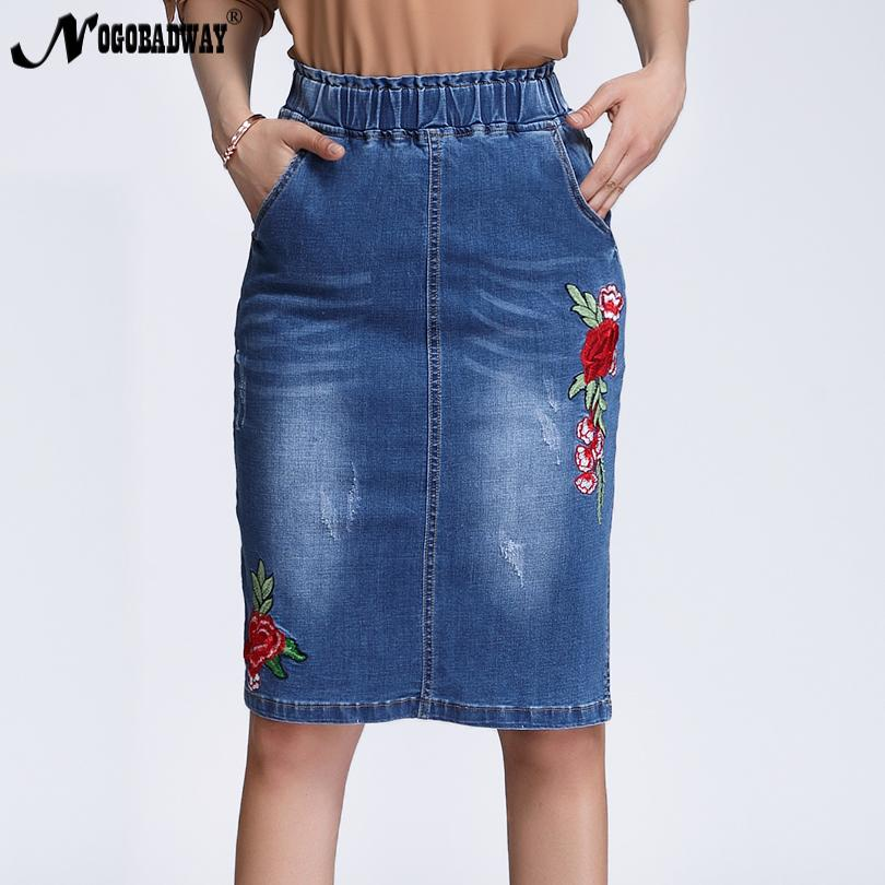 9daf0d24e15 2019 Plus Size Stretchable High Waist Floral Embroidered Denim Skirts Women  2018 Spring Split Short Jeans Skirt Saias Casual Fashion From Genguo