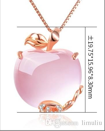 Rose gold lotus powder crystal apple necklace pendant female sweater chain pendant jewelry clavicle Korean pink crystal
