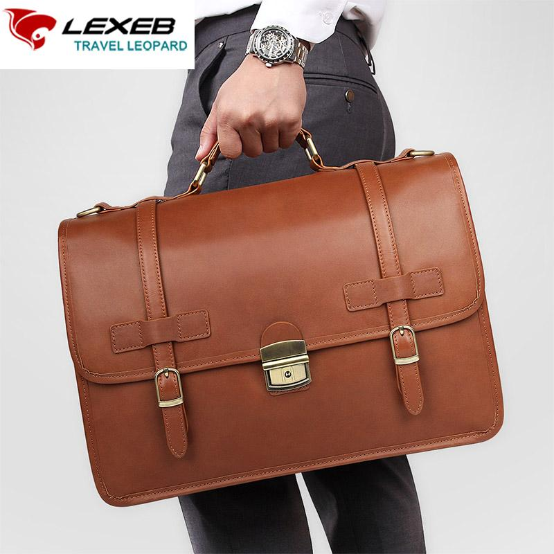 a63b544fa5 LEXEB Designer Cowhide Leather Men S Briefcases Attached Laptop Case Vintage  Crazy Horse Business Office Bags For Men In Brown Leather Satchel For Men  Mens ...
