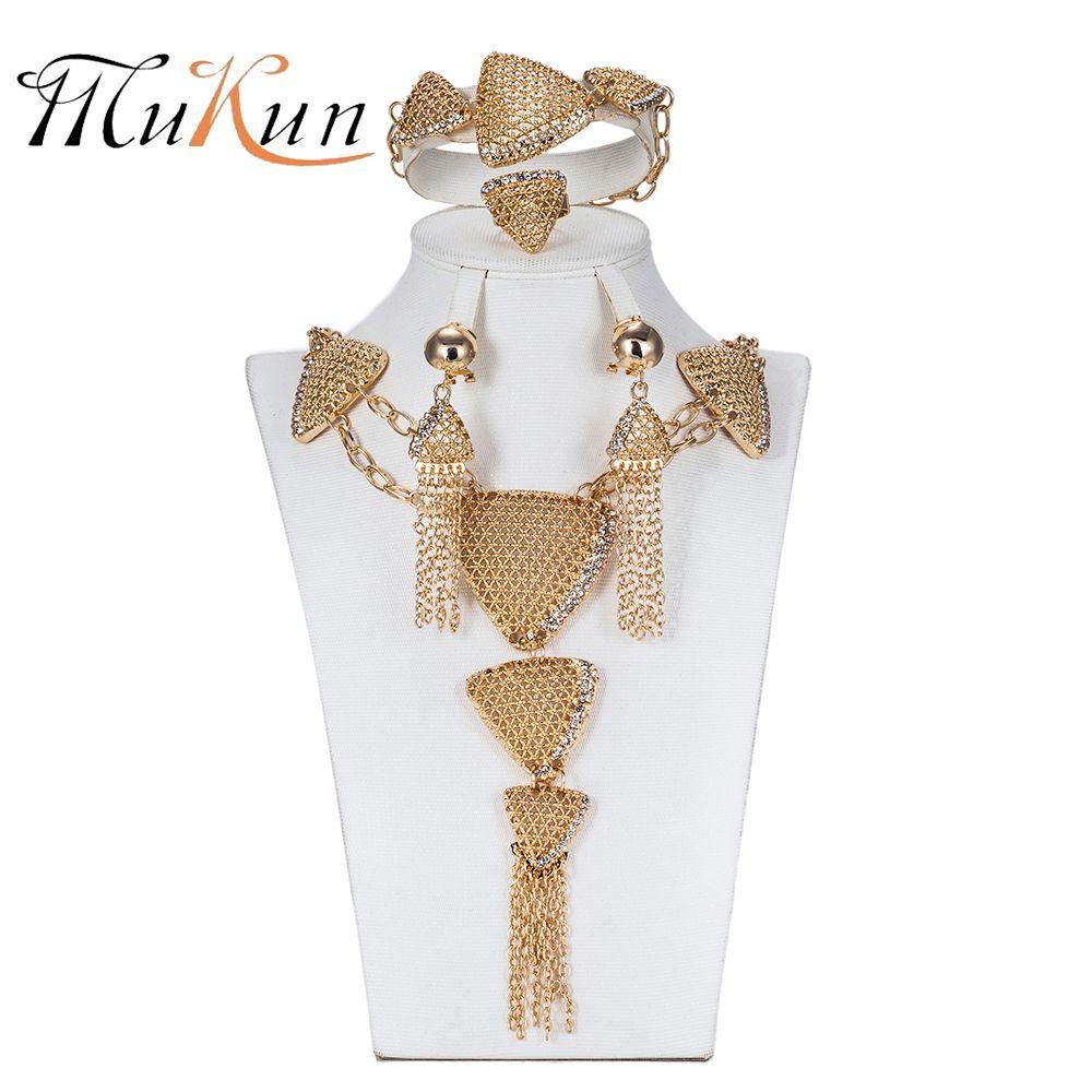 3ec45bb372f4 Compre MUKUN Moda Joyería De Dubai Establece Nigeria Pendientes Collar  Conjunto Para Las Mujeres Colgante De Cuentas Africanas De Oro Color De La  Fiesta De ...