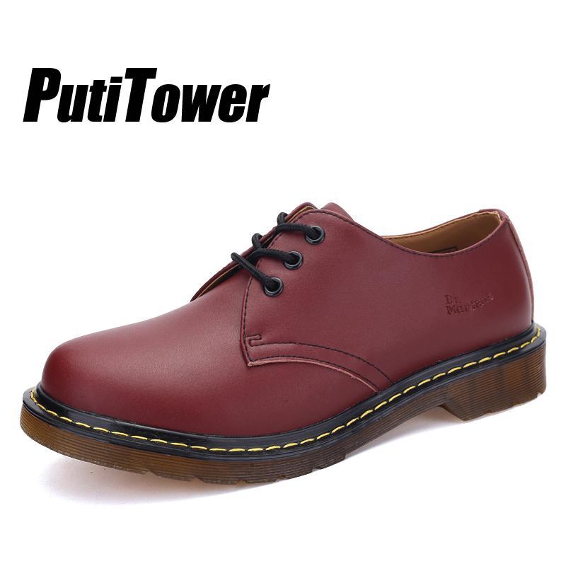 3cf2c5aa8fc Compre Tallas Grandes Para Hombre Zapatos De Cuero Genuino Con Cordones De  Moda Zapatos Brogue Hombres Casuales Femme Chaussures Casas Calzado Mujer A  ...