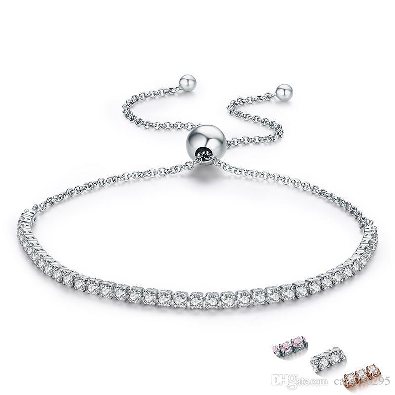 ea461e225dcb3 Pandora 925 Sterling Silver Sparkling Strand Bracelet Women Link Tennis  Bracelet Silver Jewelry