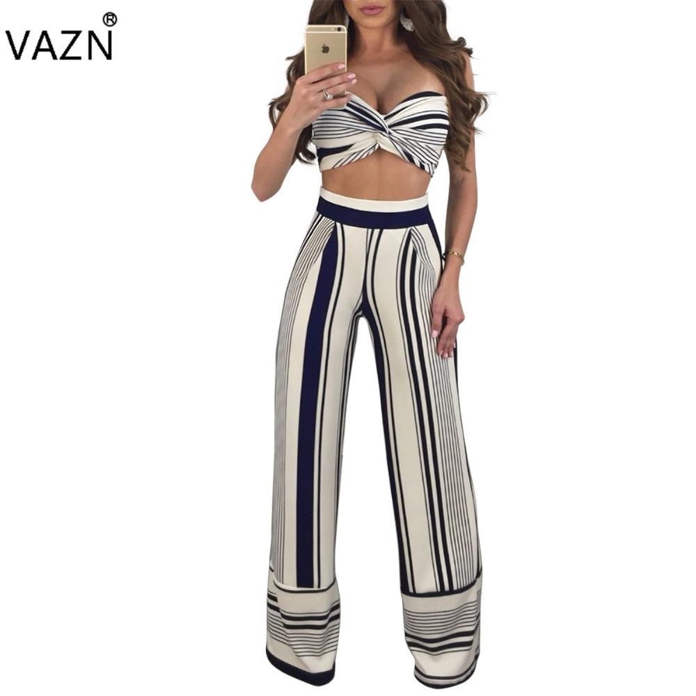 a2b6673d440 2019 VAZN 2018 Hot Fashion Ladies Sleeveless Sexy Bodycon Costume Strapless Women  Jumpsuits Striped Sexy Club Rompers Y061 From Hiem