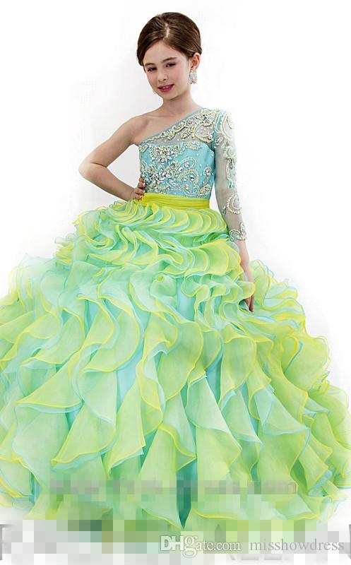 우아한 어깨 하나 오간자 볼 가운 여자의 미인 대회 드레스 프릴이 크리스탈 구슬 층 길이 생일 파티 소녀 드레스 RA1572