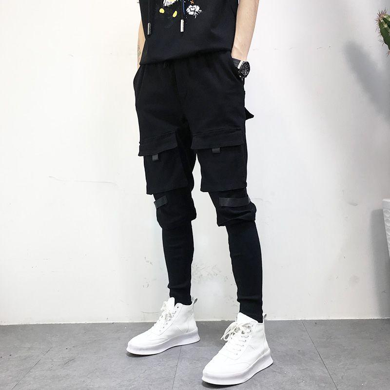 Compre 2018 High Street Jeans De Moda Para Hombres Pantalones Casuales Hip  Hop Style Pantalones De Jogging Para Multijugador Slim Fit Punk Harem Para  ... 071d3899fae
