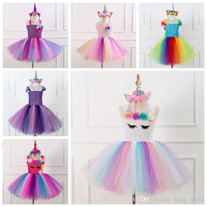 a71bc0353bd81 2019 Unicorn Baby Girls Dress Girls Unicorns Tutu Dresses Rainbow Tulle  Princess Dress Christmas Party Baby Clothes 10 Designs YW1809 From  Bling_world, ...