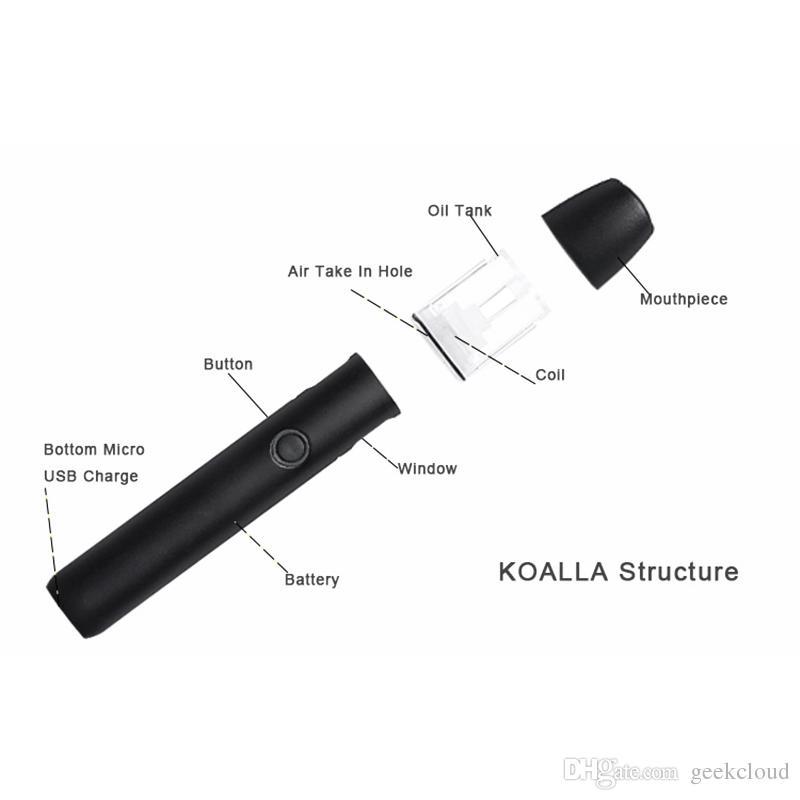 Original Koalla Vape Pen Vaporizer Portable Starter Kit 400mAh Rechargeable Battery 0.6ml Vapor POD Oil Cartridges Top Filling E Cigarettes